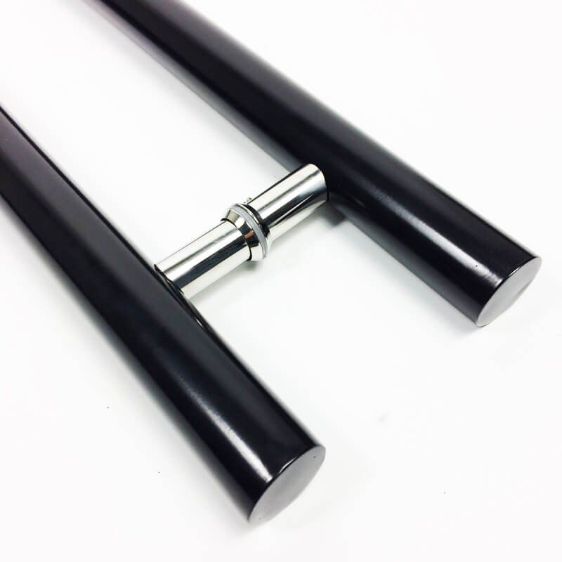 Puxador Portas Duplo Aço Inox Preto Pleno 1 m para portas: pivotantes/madeira/vidro temperado/porta alumínio e portões  - Loja do Puxador