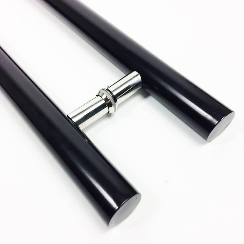 Puxador Portas Duplo Aço Inox Preto Pleno 2 m para portas: pivotantes/madeira/vidro temperado/porta alumínio e portões  - Loja do Puxador