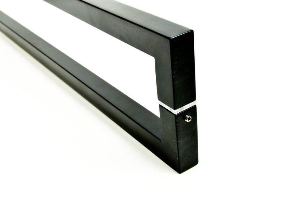 Puxador Portas Duplo Aço Inox Preto Slin 1 m para portas: pivotantes/madeira/vidro temperado/porta alumínio e portões   - Loja do Puxador