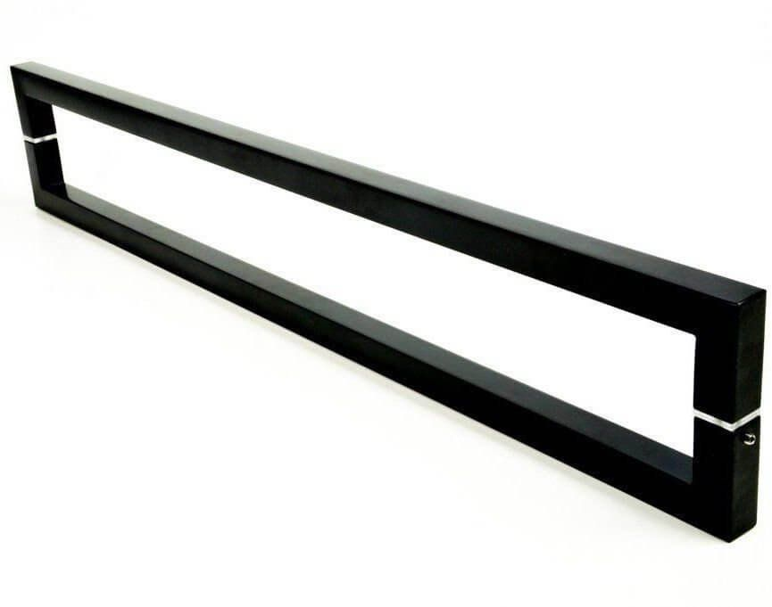 Puxador Portas Duplo Aço Inox Preto Slin 2 m para portas: pivotantes/madeira/vidro temperado/porta alumínio e portões   - Loja do Puxador