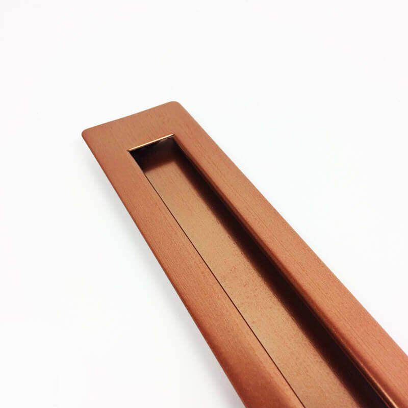 Puxador Portas Embutir Concha Aço Inox Cobre Acetinado 60 cm para portas: pivotantes/madeira/vidro temperado/porta alumínio e portões   - Loja do Puxador