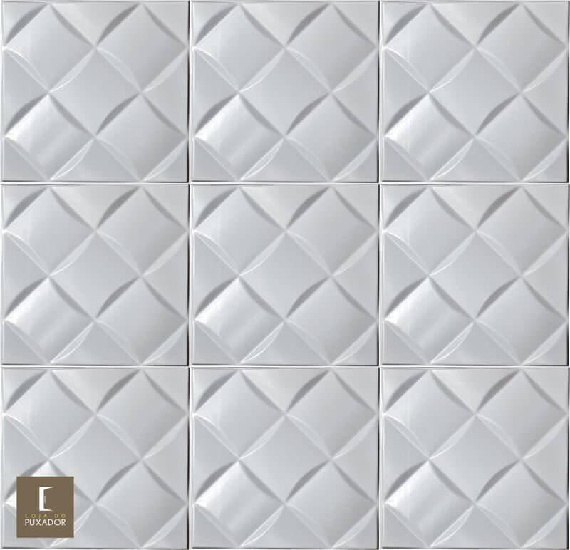 REVESTIMENTO PAINEL PAREDE 3D ALTO RELEVO ( 3D BOARD )  PLÁSTICO PSAI ALTO IMPACTO 50X 50 MODELO CAPTONE BRANCO valor por placa.  - Loja do Puxador