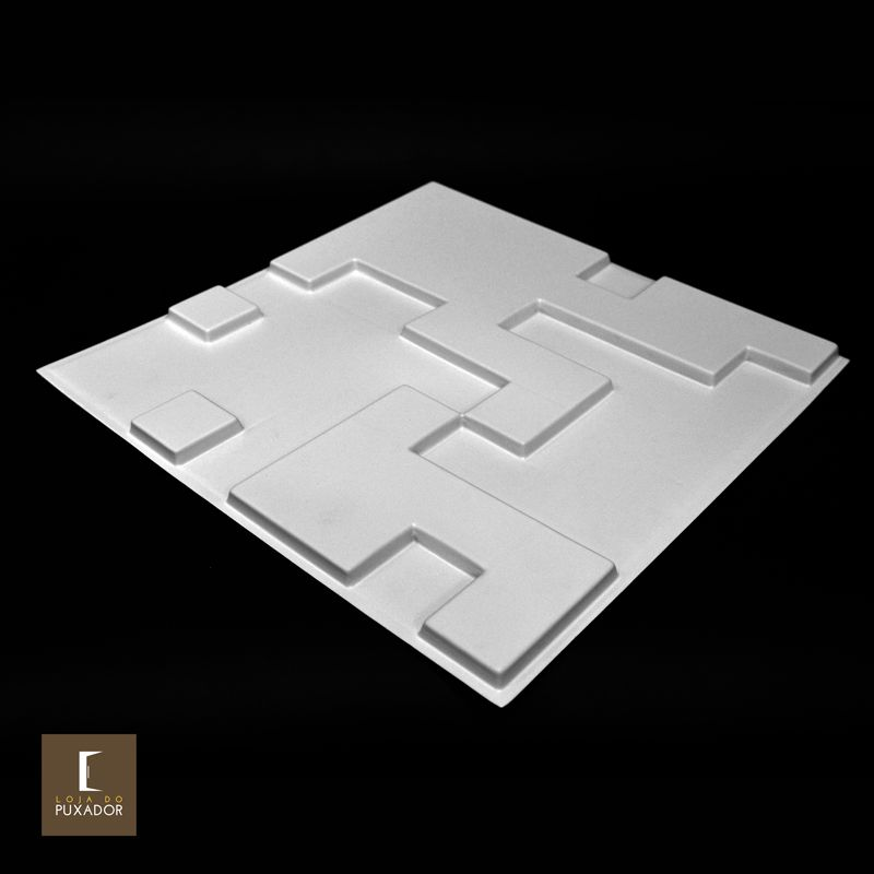 REVESTIMENTO PAINEL PAREDE 3D  ALTO RELEVO ( 3D BOARD ) PLÁSTICO PSAI ALTO IMPACTO 50X 50 MODELO ABSTRAT BRANCO valor por placa.  - Loja do Puxador