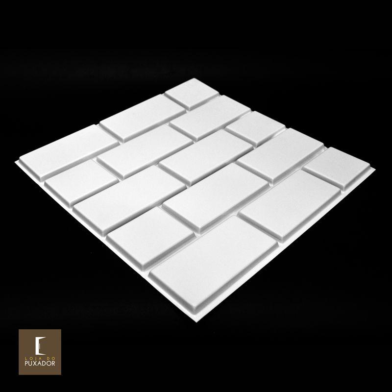 REVESTIMENTO PAINEL PAREDE 3D ALTO RELEVO ( 3D BOARD )  PLÁSTICO PSAI ALTO IMPACTO 50X 50 MODELO MESO BRANCO valor por placa.  - Loja do Puxador
