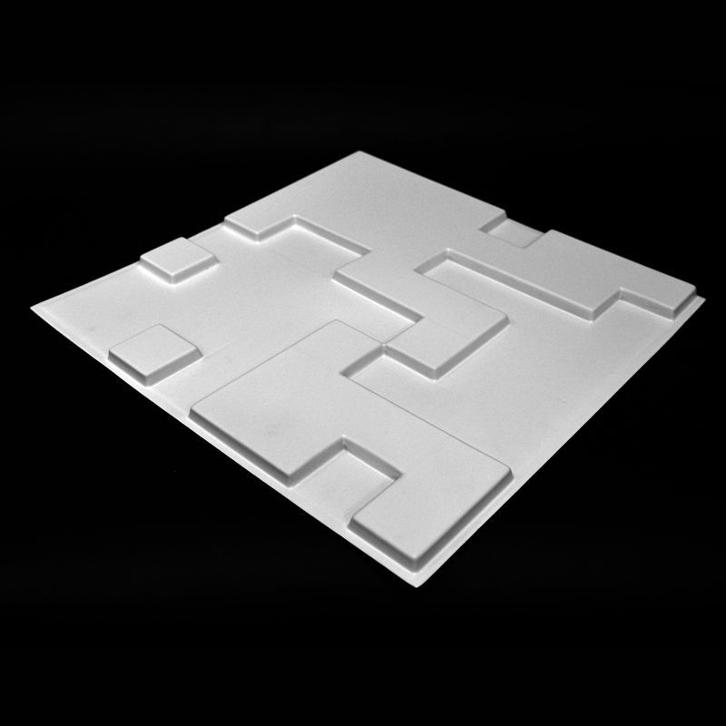 REVESTIMENTO PAREDE 3D PAINEL ALTO RELEVO PLÁSTICO PSAI ALTO IMPACTO 50X 50 MODELO ABSTRAT BRANCO valor por placa.  - Loja do Puxador