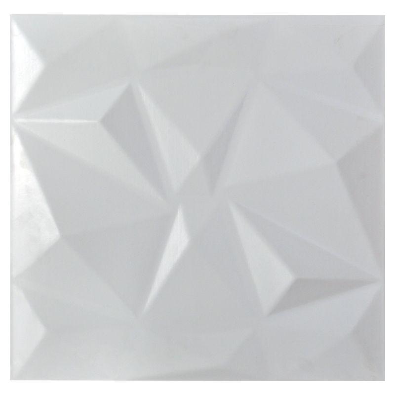 REVESTIMENTO PAREDE 3D PAINEL ALTO RELEVO PLÁSTICO PSAI ALTO IMPACTO 50X 50 MODELO TRIANGULATO BRANCO valor por placa.  - Loja do Puxador