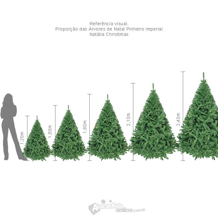 Arvore de Natal Pinheiro Imperial 2,40m verde 1350 galhos 16,1Kg + pés metal + brinde - Natália Chr