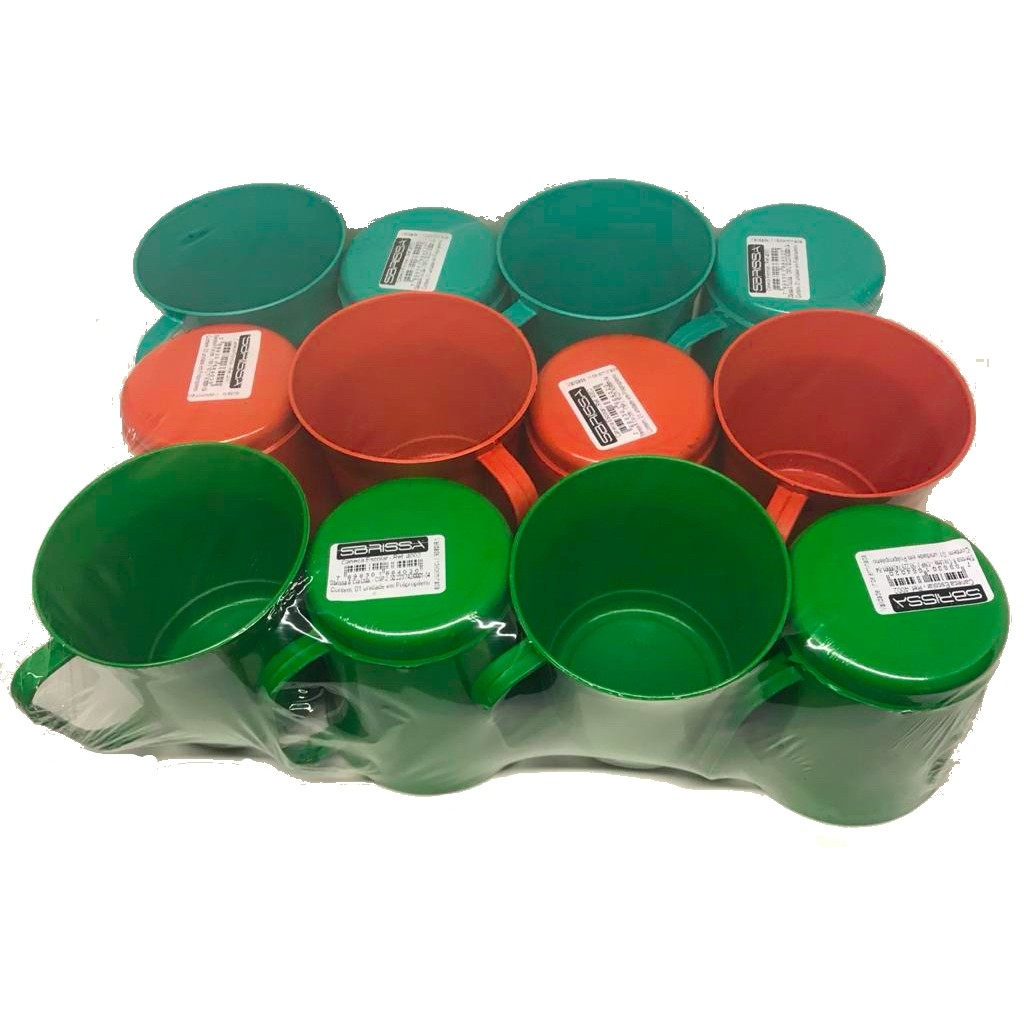 120 Caneca Plastica 270ml Merenda Escolar Cor Sortida