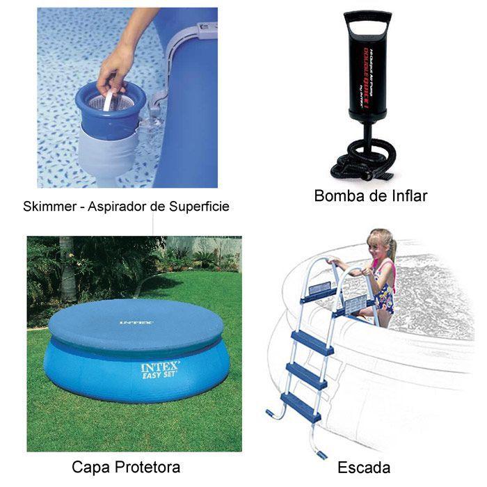 Piscina Easy Set 20650 Litros com Motobomba Escada Capa Forro Kit Limpeza - Intex