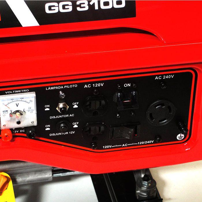 Gerador de Energia a Gasolina 3,1Kva 4T e 12V 3100W/212cc - Kawashima