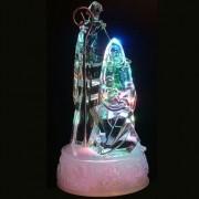 Enfeite Natal Presepio 3 Figuras Cristal Acrílico 19cm Iluluminação - Natalia Christmas