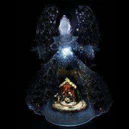 Enfeite Natal Anjo Cristal Acrílico 34cm com Decoração,  Iluminação e Musica - Natalia Christmas