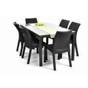 Mesa Samoa Rattan 1,60cm Vidro + 6 Cadeiras Milan Cor Cinza Keter