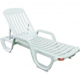 Cadeira Plastica Espreguicadeira Branca Antares