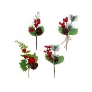 Enfeite Galho Folhas/Berries/Pinhas LM 23 CM - Magizi