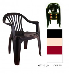 Kit 10 Cadeiras Poltrona 120Kg Plástico Inmetro Boa Vista An