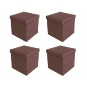 Kit 4 Puff Bau Desmontável 40x40 cm Chocolate - Vtec