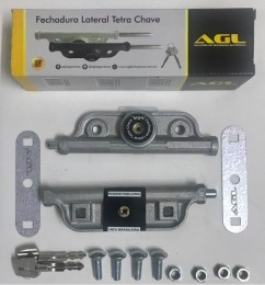 Kit 5 Fechadura Lateral dupla Trava Porta Aço Tetra Chav Agl