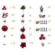 Kit Enfeite Decora Arvore Natal Luxo 17 itens 153 Pç 600 Led