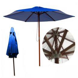 Ombrelone em Napa Bagun 2,4m Azul Madeira Luxo - Luciano