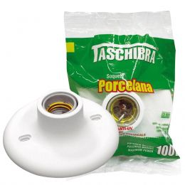 Plafon Plastico Bocal Porcelana Branco Taschibra
