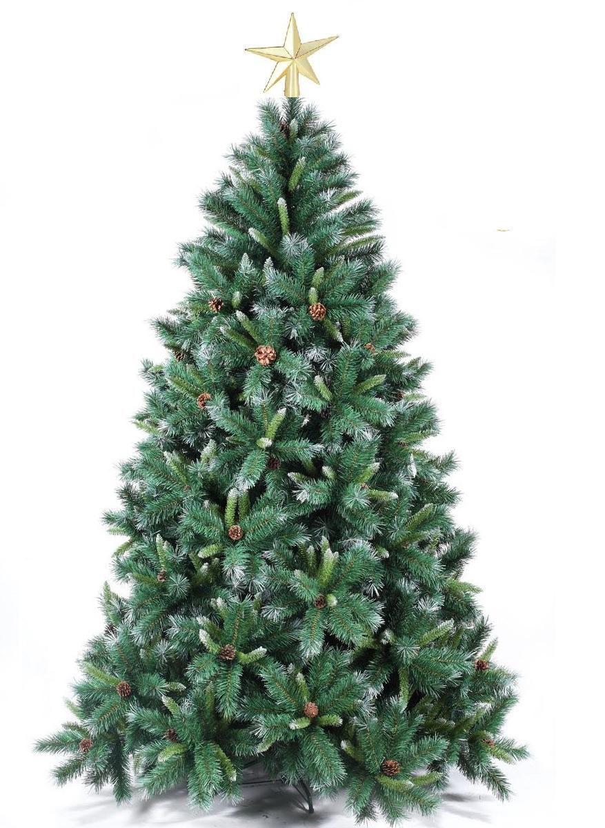 Arvore de Natal Decorada Pinheiro Suiço Nevado 2,10m 1500 Galhos com Pinhas + Brinde 14,1Kg Natalia Chr