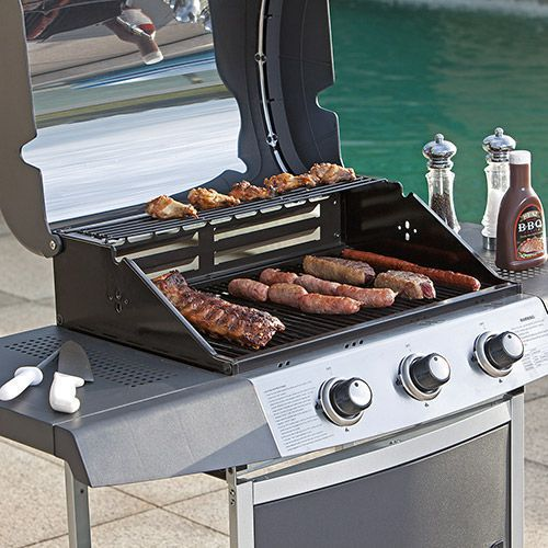 Churrasqueira a Gás 3 Queimadores Inox Luxo com armário e roda  - mc31im - Master Chef