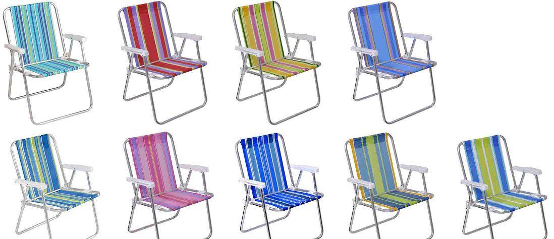 Cadeira de Praia Dobrável Alta em Alumínio -2101 M Mor