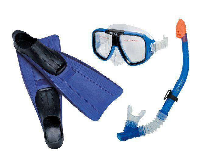 Nadadeira Competição + Kit Mergulho Snorkel Intex #95935