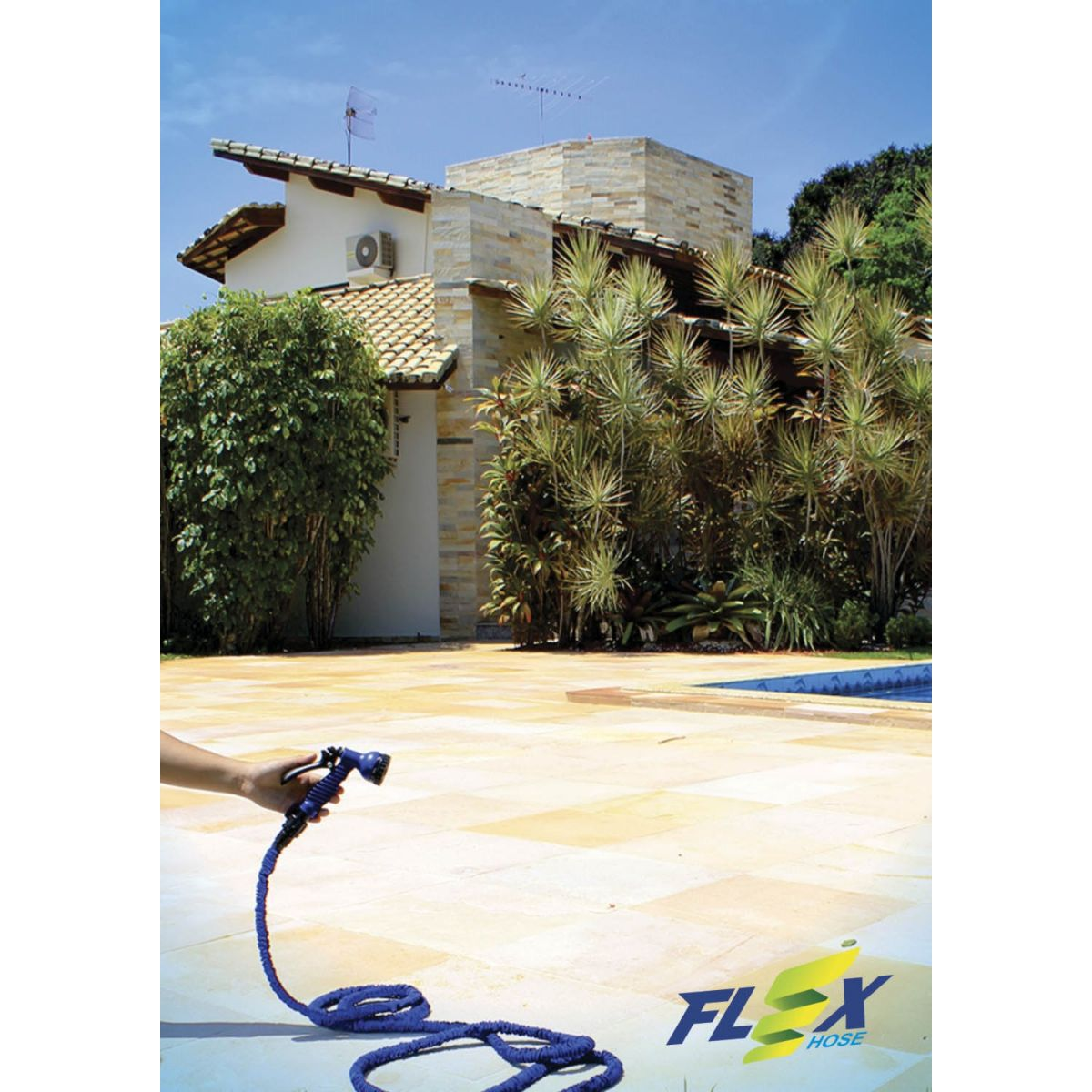 Mangueira Mágica Flex-Hose 15m + Gatilho 7 Funções Azul - Reinstar