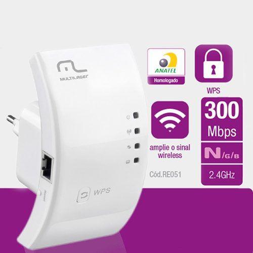 Repetidor de Sinal Wi-Fi 300 Mbps Wps 2,4gh - Re051 Multilaser