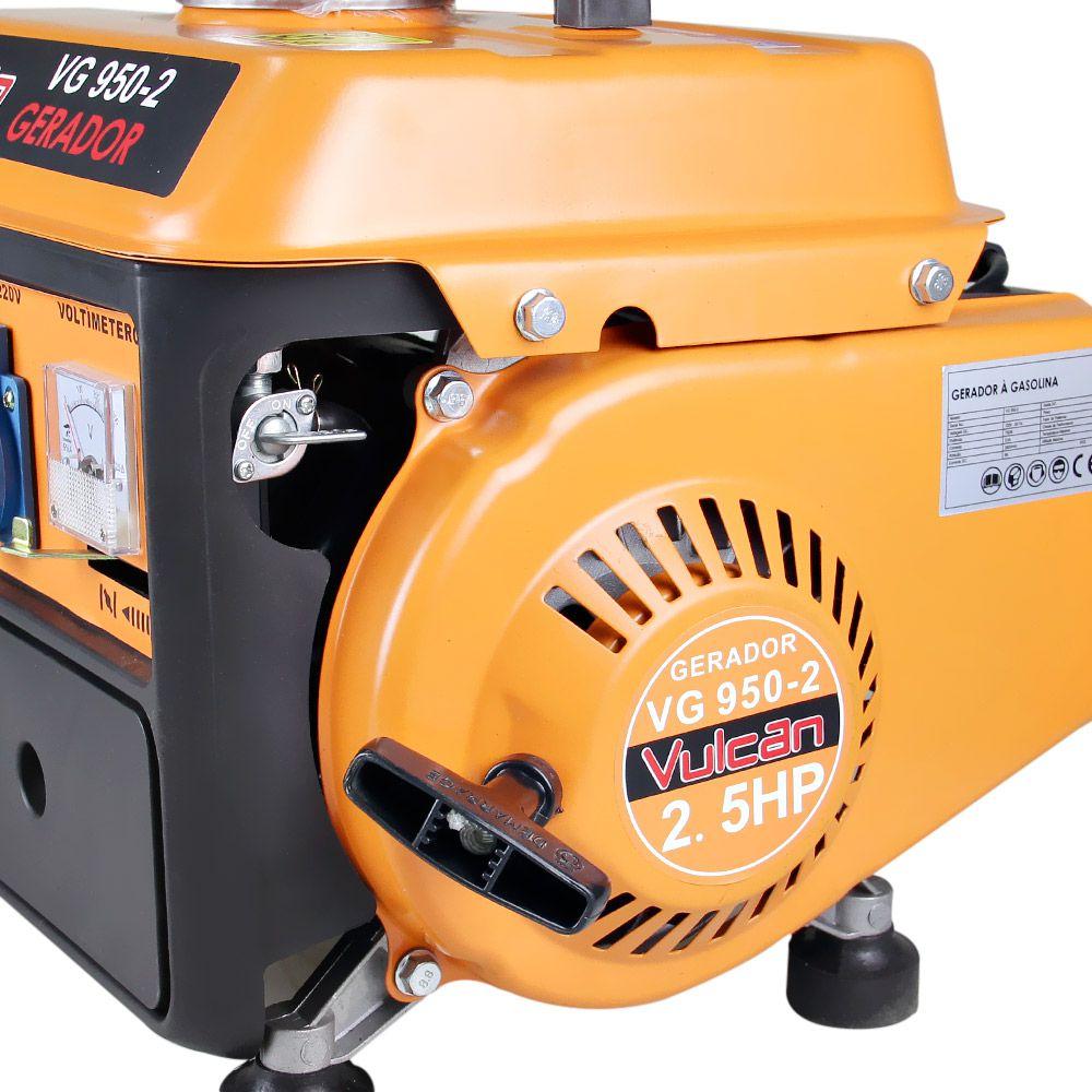 Gerador Energia Gasolina 0,95Kva 950W 12V 2,5HPs 127V Vulcan