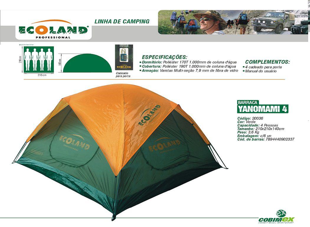 Barraca Camping Yanomami 4 Pessoas c/ Cadeado Verde - 20036 Ecoland