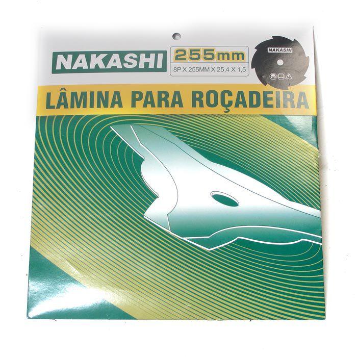 Lamina Faca 8 Dente Roçadeira 255 x 25,5 x 1,5 mm Nakashi