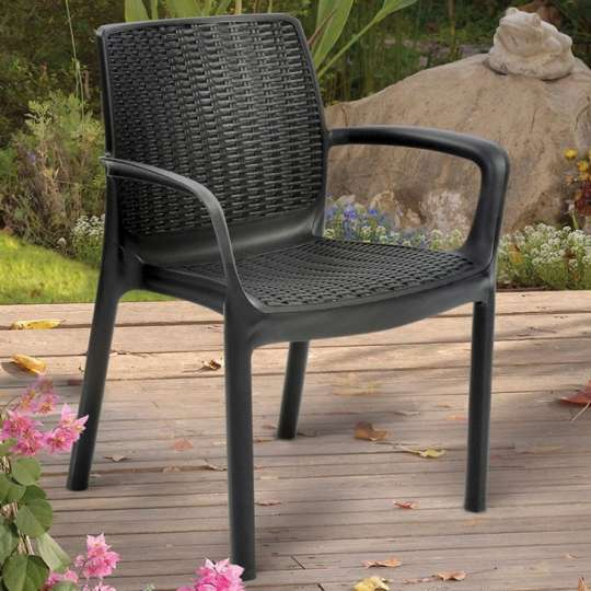 Cadeira Bali com Braço Cinza Luxo 160 Kg  KTR000399 Keter