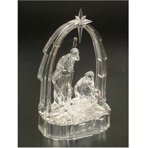 Enfeite de Natal Presépio Acrílico 19cm Iluminação - Natalia Christmas