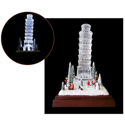 Enfeite Natal Torre Pisa Cristal Acrílico 18cm - Natalia Christmas