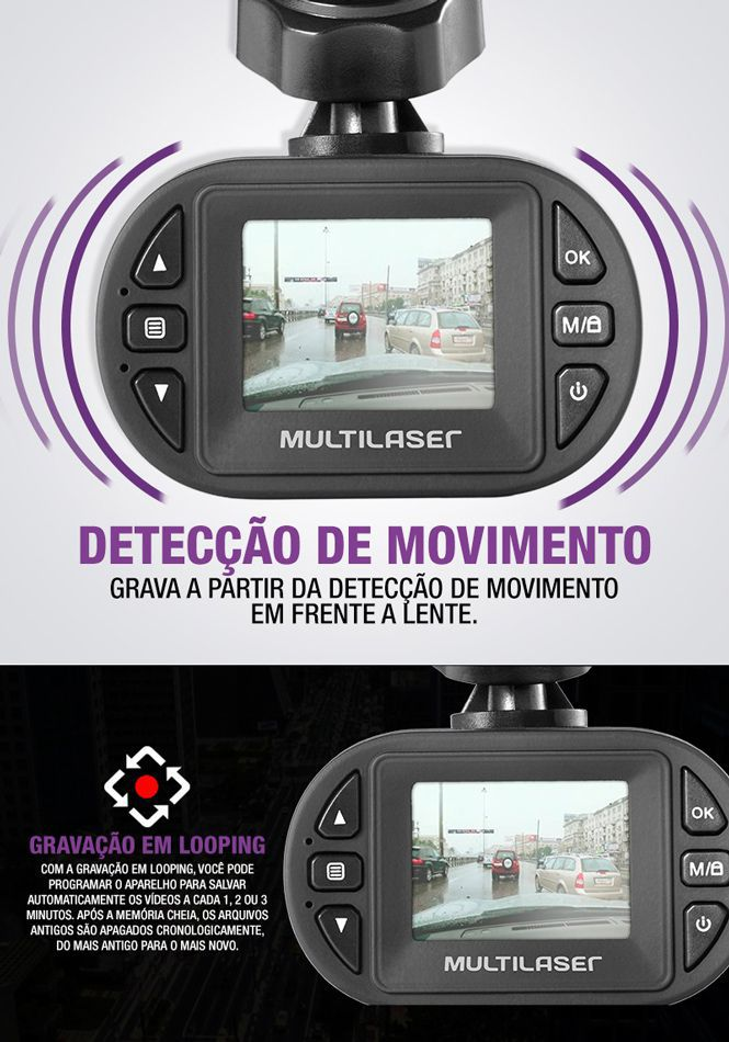 Filmadora Hd Automotiva Preta AU013 - Multilaser
