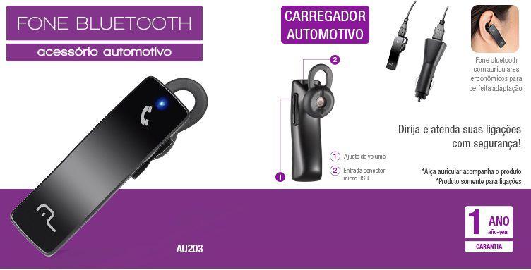 Fone Ouvido Bluetooth com Carregador Automotivo AU203 - Multilaser