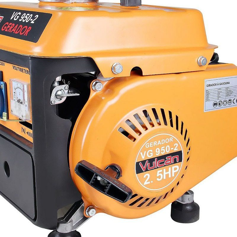 Gerador Energia Gasolina 0,95Kva 950W 12V 2,5HPs 220V Vulcan