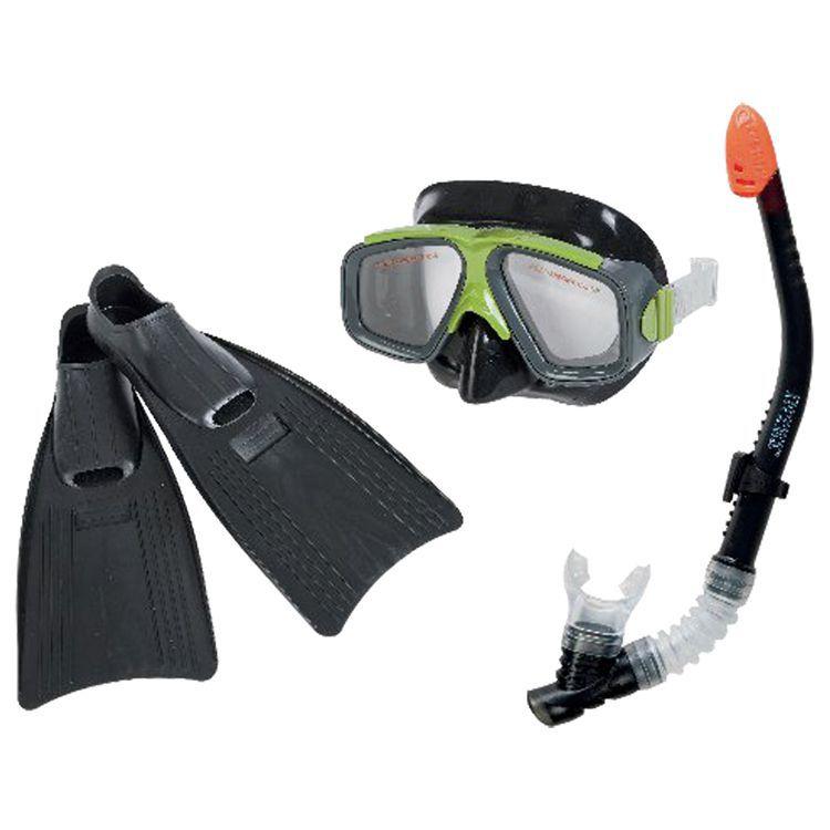 Kit Mergulho Nadadeira Proficional, Óculos e Respirador - 55959 Intex