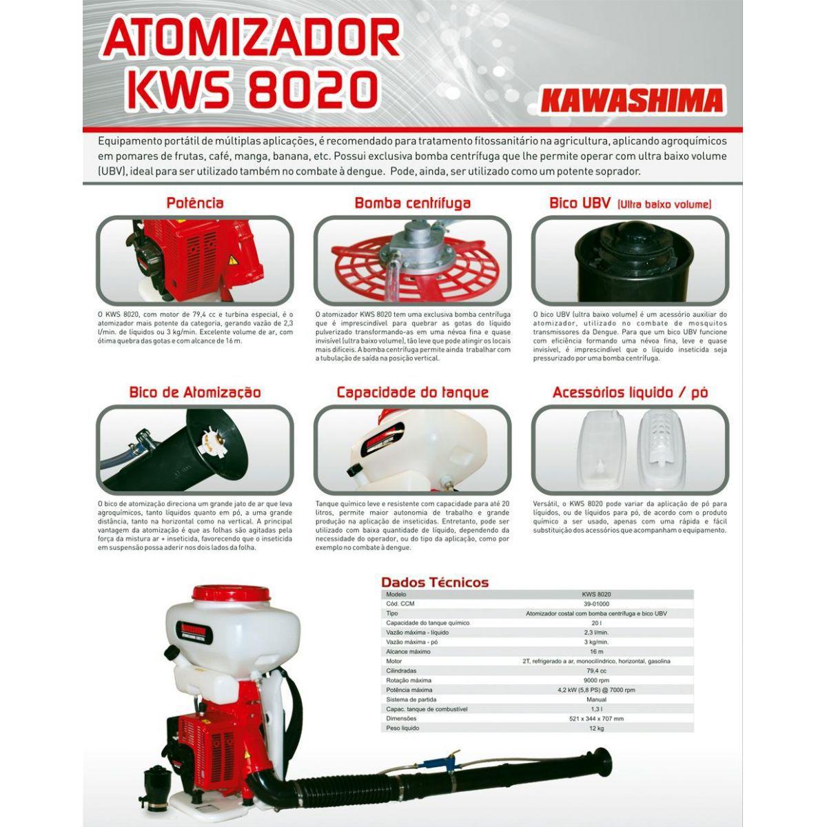 Atomizador Costal 79,4cc C/ Bomba Centrífuga - KWS8020 Kawashima