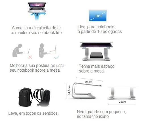 "Suporte Elevado Curv Djs Rose Notebook MacBook 9 a 17"""