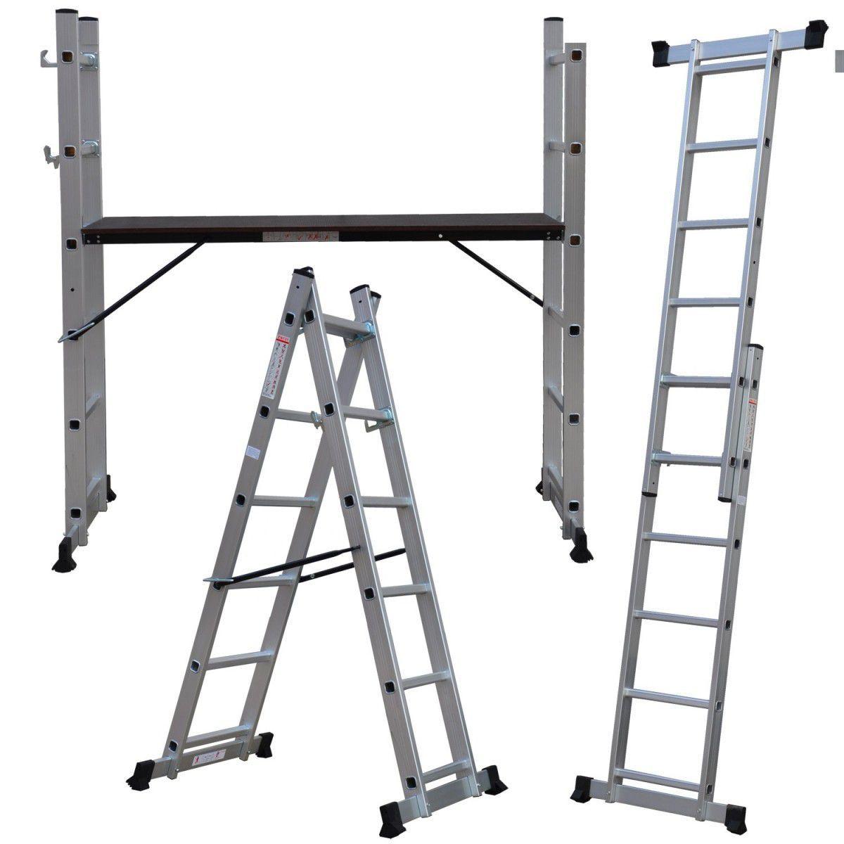 Escada Multifuncional Plataforma 5x2 Degraus Alumínio 150Kg  - Strong