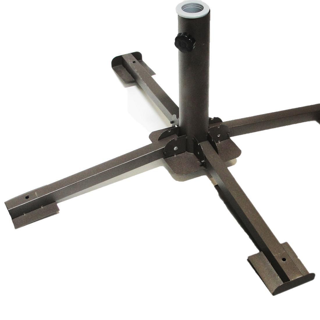 Kit 2 Base Metal Dobrável Guarda Sol Ombrelone 38 a 54mm Mor