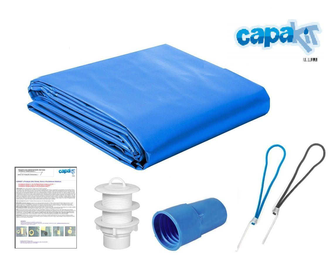 Capa Piscina 5x7 m (7x5) Dreno 24 Pinos 300 Micra CapaKit