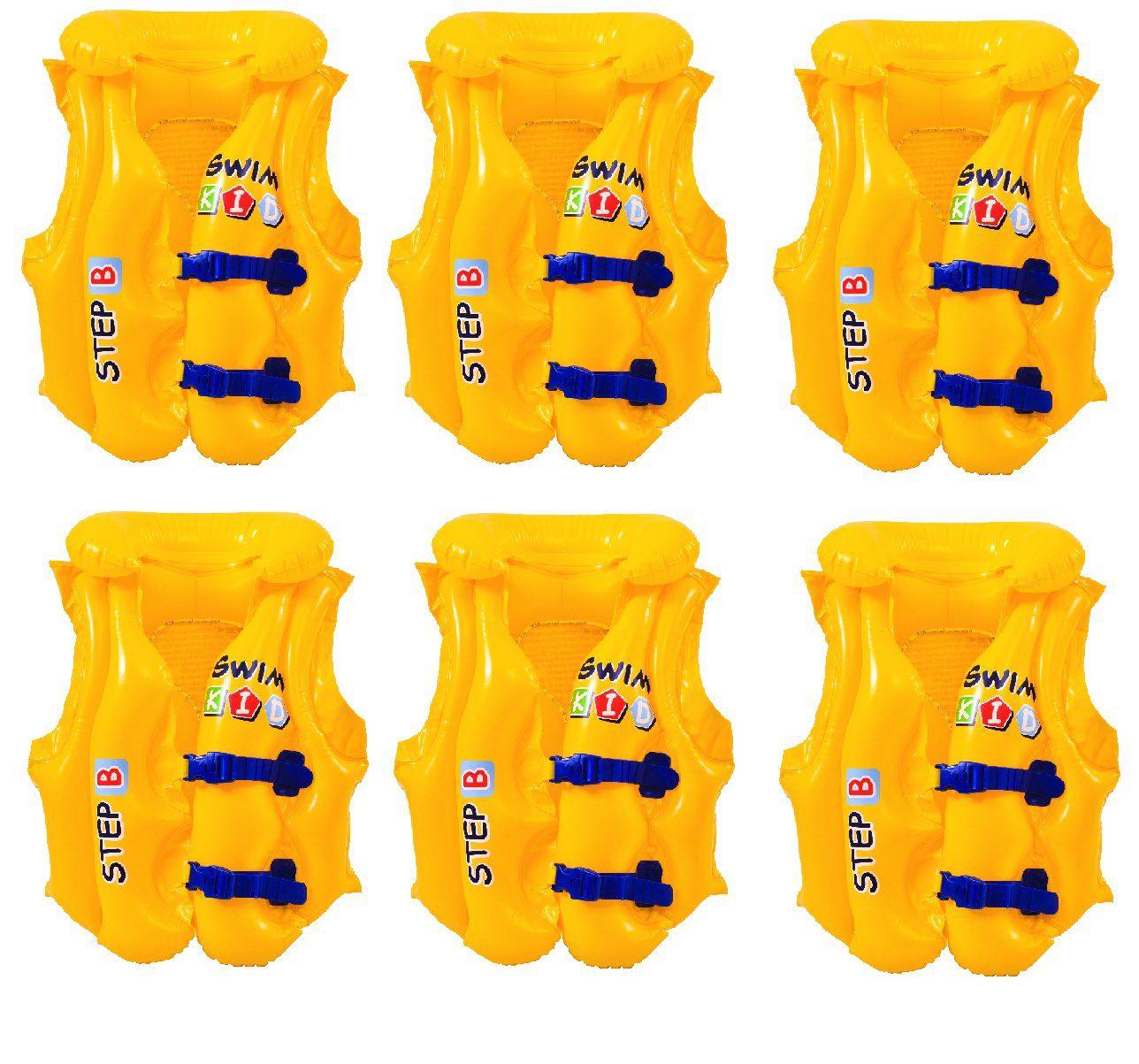 6 UN Colete Inflável Top Swin 30 Kg Apoio Cabeça 2 Camaras
