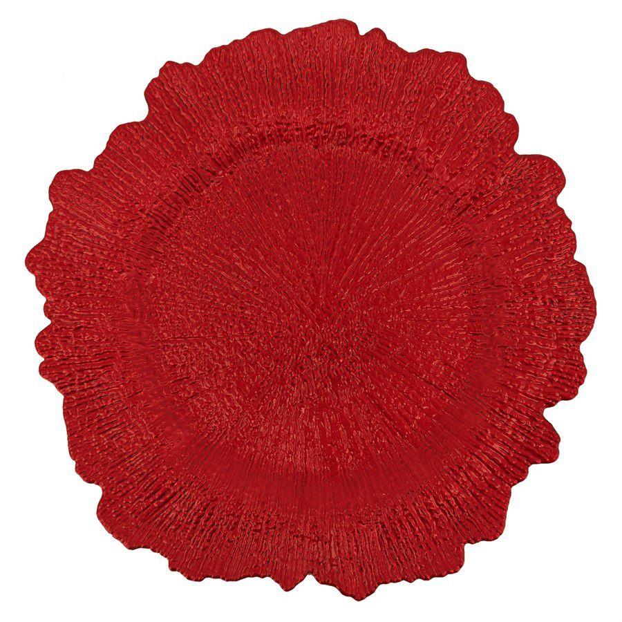 Kit 6 Porta Prato Sousplat Vermelho 35 cm Borda Recort Yazi