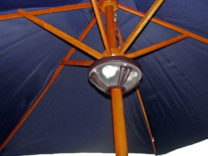 Kit Guarda Sol Ombrelone 2,6m com polia  Branco areia + Luminária Dupla Iluminação l - Yankee