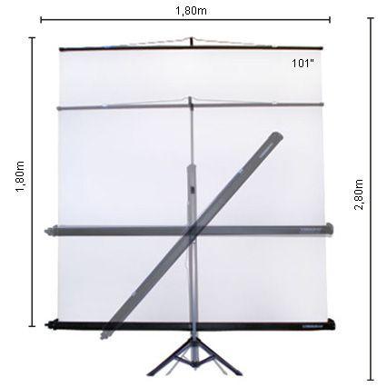 Tela de Projeção Retrátil c/Tripé e Estojo 2,0x2,0m - TLTR200 Visograf